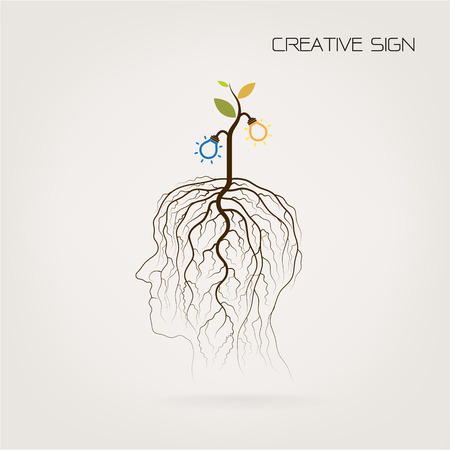 Education and business concept. Tree of Knowledge  shoot grow on human head symbol. Green industrial idea.  Illustration