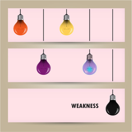 Creative light bulb Idea concept banner background. Difference and weakness concept. Vector