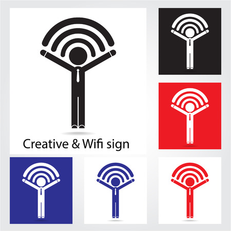 Set of  wireless network icons for business or commercial use. Business and technology concept. Vector illustration. Vector