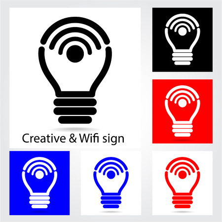 Set of creative light bulb with wifi icons for business or commercial use. Education and technology concept. Vector illustration. Vector