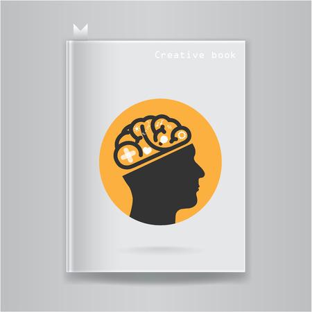 Creative brain idea concept on blank book cover. Vector illustration Vector