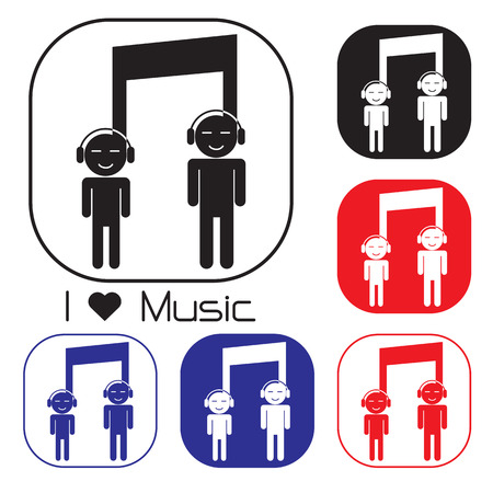 Creative music note sign icon and silhouette people symbol . Musical symbol. Vector illustration Vector
