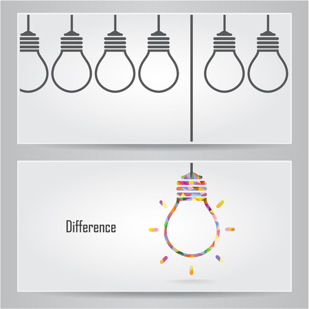 Creative light bulb Idea concept banner background. Differen banner ceconcept .Vector illustration Vectores