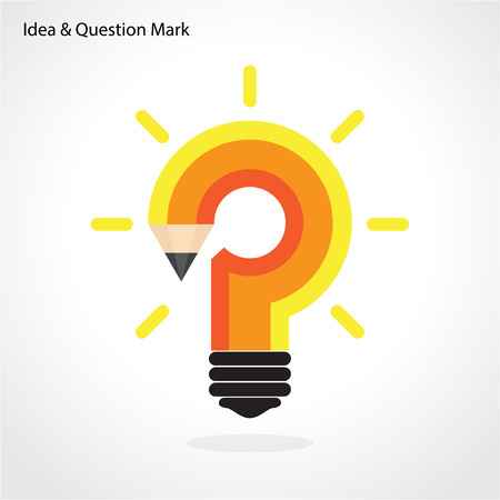 bulb light: Pencil question mark and light bulb on background. Education concept. Vector illustration Illustration