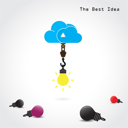 Flat cloud technology computing and creative bulb idea concept. Vector