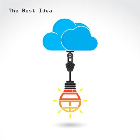 business innovation: Flat cloud technology computing and creative bulb idea concept. Vector illustration
