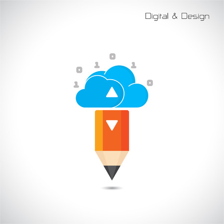 pencil symbol: Creative pencil and cloud symbol. Flat design style and digital concept. vector illustration