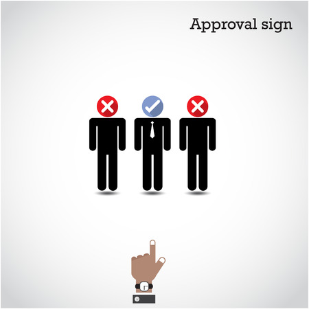 Boss choosing the perfect businessman for the job. Vector illustration Vector