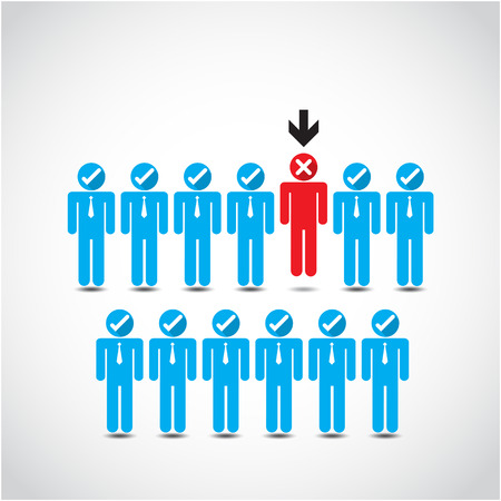 Boss choosing the imperfect businessman for layoff. Vector illustration