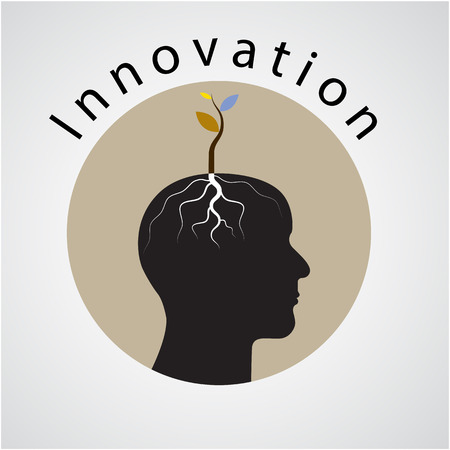 Innovation concept. Tree of green idea shoot grow on human head symbol. business and green industrial idea. Vector illustration