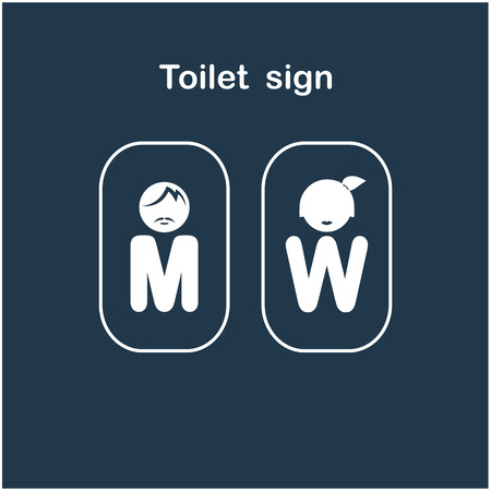 genders: Man and woman toilet sign, restroom symbol . Vector illustration Illustration