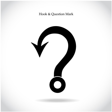 on the mark: Fishing hook question mark sign on background. Education and business concept. Vector illustration
