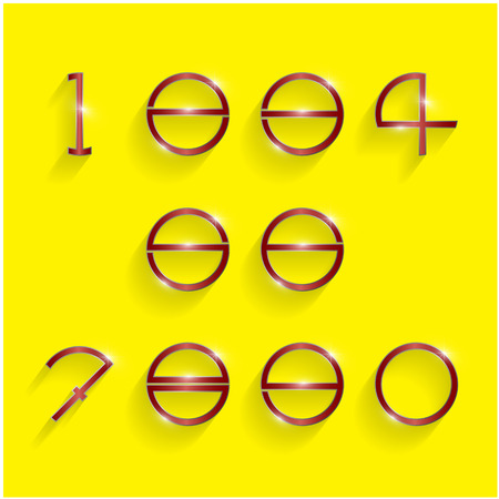 shinning: Shinning circle digit style on yellow background. Vector illustration