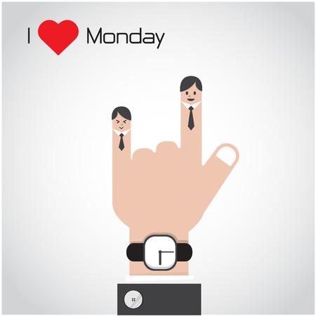月曜日のコンセプトが大好きです。漫画と実業家のシンボル、ビジネス コンセプト。ベクトル図 写真素材 - 33942964