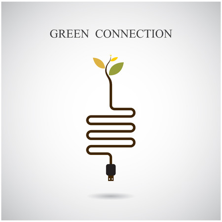 Green connection concept. Green environment sign, education and business idea. Vector illustration Vector