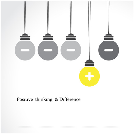 learning concept: creative light bulb symbol with positive thinking and difference concept, business idea. Vector illustration