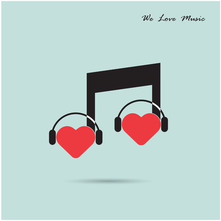 Creative music note sign icon and silhouette heart symbol . Love and  musical symbol. Vector illustration Vector