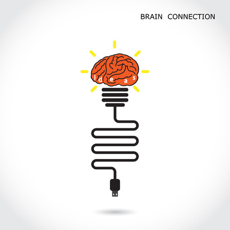 Creative light bulb symbol and brain connection sign. Business and education concept. Vector illustration Vector