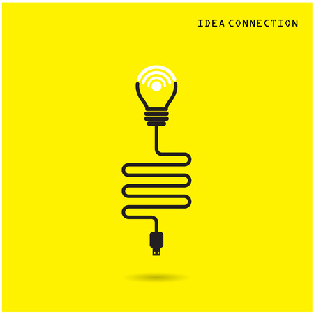 Creative light bulb with wifi connection icons for business or commercial use. Vector illustration Illustration
