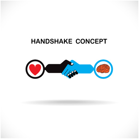 pact: Business partners shaking hands as a symbol of unity, handshake abstract design template. Business creative concept. Deal, contract, team or cooperation symbol icon. Vector illustration Illustration