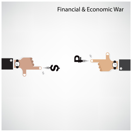powerhouse: Businessman hand shooting financial or economic war concept, business idea .Vector illustration