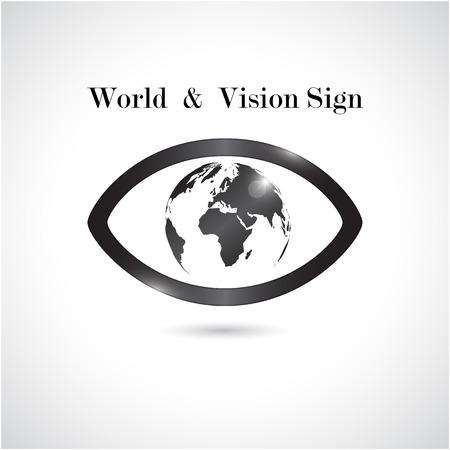 Signe mondial de vision, icône de l'?il, symbole de recherche, concept d'entreprise. Vector illustration