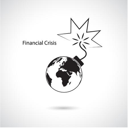 crisis economica: Crisis financiera y econ�mica mundial, concepto de negocio global. Ilustraci�n vectorial