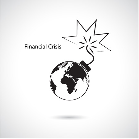 economic crisis: World financial and economic crisis, global business concept. Vector illustration