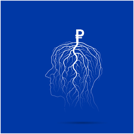 precipice: Tree of business shoot grow on human head symbol. Business and industrial idea concept. Vector illustration
