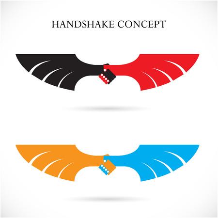 achievement clip art: Handshake abstract design concept template.