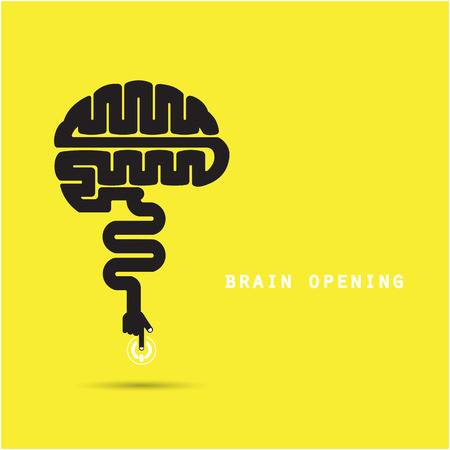 open sign: Brain opening concept.Creative brain abstract vector design template.
