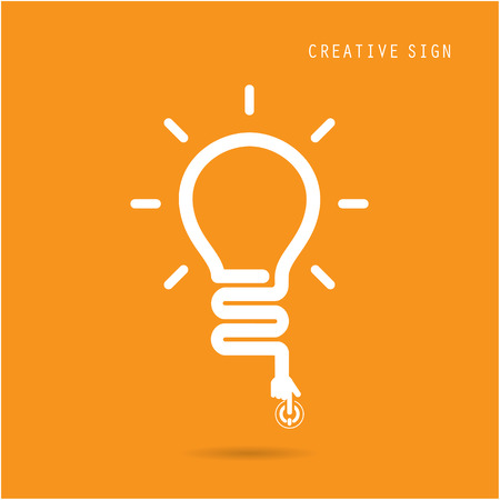 Creative light bulb concept, design for poster flyer cover brochure, business idea, education concept.vector illustration Çizim