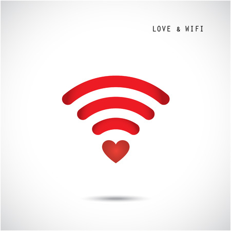 Heart shape and wifi sign. Happy valentine day