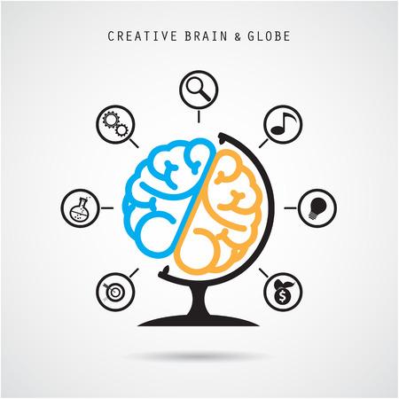 conocimiento: Cerebro creativo dise�o extracto icono vector. Vectores