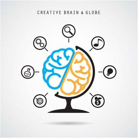 globe people: Creative brain abstract vector icon design.