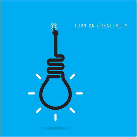 Turn on Creative light bulb concept, design for poster, flyer, cover or brochure. Business idea and education concept. Vector illustration Vector