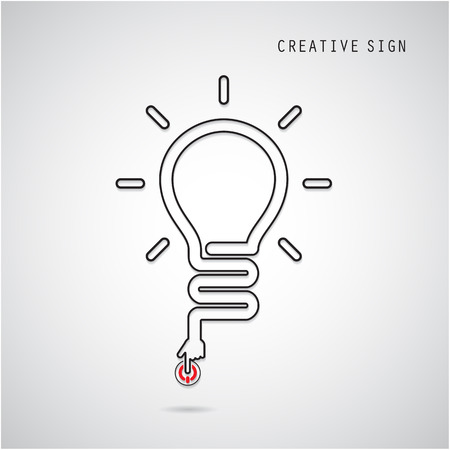turn on: Turn on Creative light bulb concept, design for poster, flyer, cover or brochure. Business idea and education concept. Vector illustration Illustration