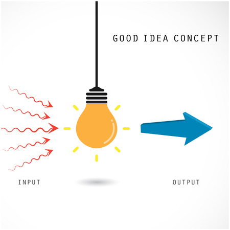 input output: Creative light bulb concept, design for poster, flyer, cover or brochure. Business idea and education concept. Vector illustration Illustration