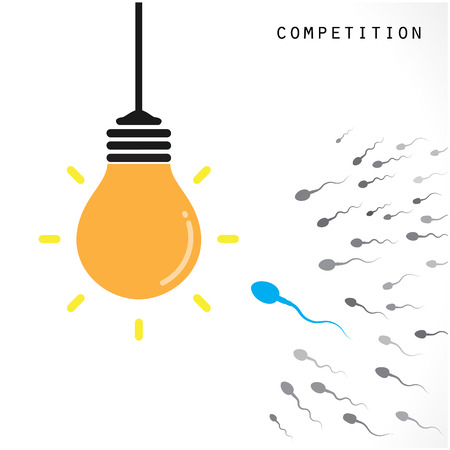 contention: Creative light bulb Idea concept banner background. Competition and business concept .Vector illustration Illustration