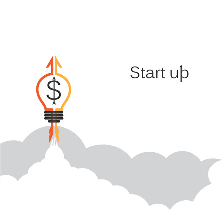 education cartoon: Creative light bulb sign and grey cloud, conceptual of start up new business project, take off of a business or project or extraterrestrial travel. Vector illustration