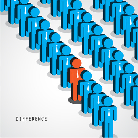 Businessman standing out from the crowd. Business idea and difference concept. Vector illustration Vectores