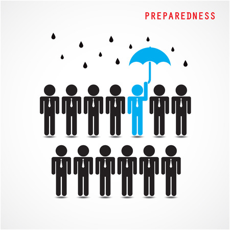 insurance: Businessman standing out from the crowd. Business idea and preparation concept. Vector illustration