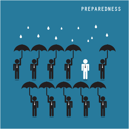 Businessman standing out from the crowd. Business idea and preparation concept. Vector illustration