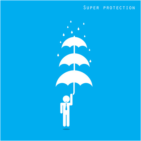 insurance protection: Businessman standing out from the crowd. Business idea and preparation concept. Vector illustration