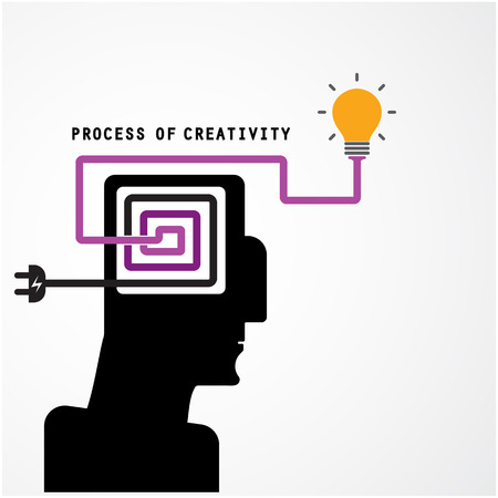 creativity concept: Creative silhouette head symbol and process of creativity concept on background, design for poster flyer cover brochure.Business and education idea. Vector illustration Illustration