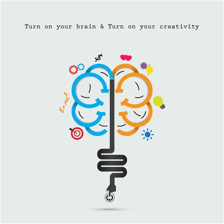 Apertura cerebro cerebro concept.Creative abstracto vector plantilla de diseño del logotipo. Actividad empresarial logotipo creativo industrial symbol.Vector ilustración