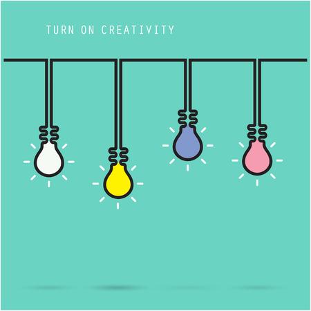 Creative light bulb symbol with turn on creativity concept, education and business idea. Vector illustration Illustration