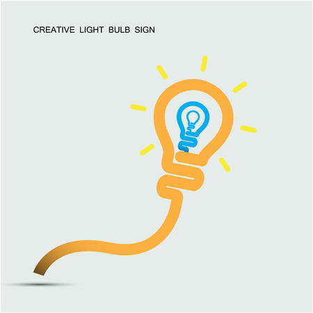 Creative light bulb symbol with turn on creativity concept, education and business idea. Vector illustration Vector