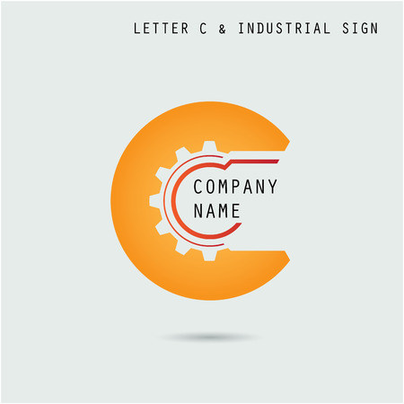 engineering: Creative letter c abstract icon design vector template with industry and gear symbol.