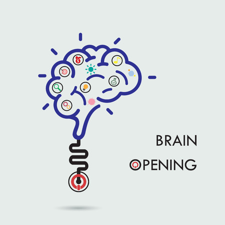Brain opening concept.Creative brain abstract vector icon design template. Corporate business industrial creative icontype symbol.Vector illustration